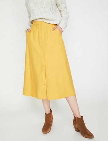 Koton Düğme Detaylı Etek Sarı